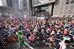 Feb. 27, 2011 - Tokyo, Japan - Thousands of runners fill the streets in front of the Tokyo Metropolitan Government Building, where the starting point of the Tokyo Marathon begins. (Photo by Daiju Kitamura/AFLO SPORT)