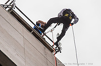 Mark Skipper from MAS Office Cleaners participated in Over the Edge at the US Bank building at 200 South 6th Street in Minneapolis, rappelling down the side of the 321-foot building for charity to help raise money for the Boy Scouts of America. Event Photography by Minneapolis Commercial and Corporate Event Photographer Justin Cox