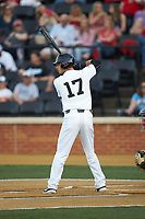 Bruce Steel (17) of the Wake Forest Demon Deacons at bat against the North Carolina State Wolfpack at David F. Couch Ballpark on April 18, 2019 in  Winston-Salem, North Carolina. The Demon Deacons defeated the Wolfpack 7-3. (Brian Westerholt/Four Seam Images)