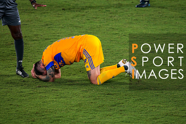 Forward Andre-Pierre Gignac of Tigres UANL (MEX) lies on the field after being tacked by a player of New York City FC (USA) during their Scotiabank Concacaf Champions League Quarter Finals match at the Orlando's Exploria Stadium on 15 December 2020, in Florida. Photo by Victor Fraile / Power Sport Images