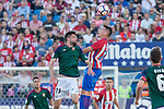Kenan Kodro of Club Atletico Osasuna competes for the ball with Lucas Hernandez of Atletico de Madrid during the match of La Liga between  Atletico de Madrid and Club Atletico Osasuna at Vicente Calderon  Stadium  in Madrid, Spain. April 15, 2017. (ALTERPHOTOS / Rodrigo Jimenez)