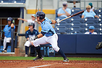 Charlotte Stone Crabs designated hitter Jace Conrad (23) walk off base hit during a game against the Dunedin Blue Jays on July 26, 2015 at Charlotte Sports Park in Port Charlotte, Florida.  Charlotte defeated Dunedin 2-1 in ten innings.  (Mike Janes/Four Seam Images)