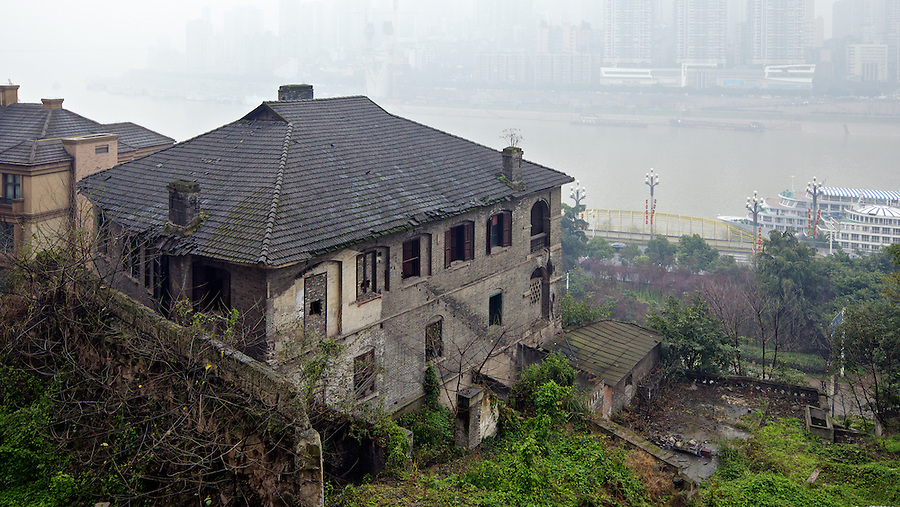 Brunner Mond's Office And/Or Residence Overlooks Chongqing (Chungking) City Centre From The East Bank Of The Yangtze.