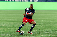 FOXBOROUGH, MA - AUGUST 29: Andrew Farrell #2 of New England Revolution dribbles during a game between New York Red Bulls and New England Revolution at Gillette Stadium on August 29, 2020 in Foxborough, Massachusetts.