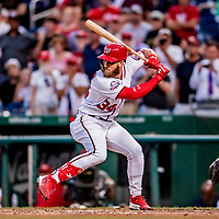 26 September 2018: Washington Nationals outfielder Bryce Harper at bat in the 5th inning in what might be his last home appearance in a Nationals uniform, during play against the Miami Marlins at Nationals Park in Washington, DC. The Nationals defeated the visiting Marlins 9-3, closing out Washington's 2018 home season. Mandatory Credit: Ed Wolfstein Photo *** RAW (NEF) Image File Available ***