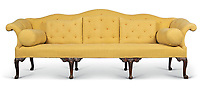 BNPS.co.uk (01202 558833)<br /> Pic: Christies/BNPS<br /> <br /> Pictured: A George II mahogany serpentine sofa that sold for £93,750.<br /> <br /> An impressive collection of furniture and artworks amassed by British designer Jasper Conran has sold for a massive £6.7m.<br /> <br /> Several paintings set new world auction records and the top lot was a 16th century portrait of Anthony Maria Browne, that sold for £742,500.<br /> <br /> The collection, which spans four centuries and had been gathered over 30 years, had filled Conran's impressive home at New Wardour Castle in Wiltshire.<br /> <br /> But he put the property on the market last August and after downsizing to a smaller home decided to auction most of his treasures.
