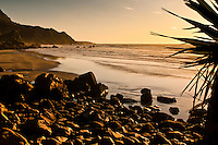Sunset on the rugged coast and beaches in Punakaiki - Paparoa National Park, West Coast, New Zealand