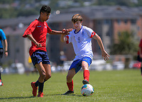 Action from the 2019 National Age Group Tournament Under-16 Boys football match between Auckland and WaiBoP at Memorial Park in Petone, Wellington, New Zealand on Friday, 13 December 2019. Photo: Dave Lintott / lintottphoto.co.nz