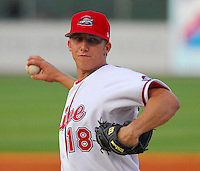 13 April 2007: Brian Steinocher of the Greenville Drive, Class A affiliate of the Boston Red Sox, during a game against the Rome Braves, an affiliate of the Atlanta Braves. Photo by:  Tom Priddy/Four Seam Images