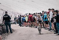 Sergio Henao (COL/SKY) up the gravel roads of the Colle delle Finestre <br /> <br /> stage 19: Venaria Reale - Bardonecchia (184km)<br /> 101th Giro d'Italia 2018