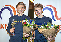 Wateringen, The Netherlands, December 15,  2019, De Rhijenhof , NOJK juniors doubles , Final boys 16 years, winners Brian Bozemoj (NED) and Stijn Paardekooper (NED) (R) with the trophy<br /> Photo: www.tennisimages.com/Henk Koster