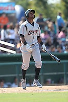 Gabriel Quintana (15) of the Lake Elsinore Storm bats during a game against the Inland Empire 66ers at San Manuel Stadium on May 27, 2015 in San Bernardino, California. Lake Elsinore defeated Inland Empire, 12-9. (Larry Goren/Four Seam Images)
