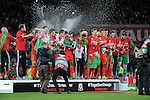 UEFA EURO 2016 Qualifier match between Wales and Andorra at Cardiff City Stadium in Cardiff : Wales football team celebrating with champagne at full time.