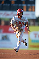 Auburn Doubledays second baseman Max Schrock (9) running the bases during a game against the Batavia Muckdogs on July 10, 2015 at Dwyer Stadium in Batavia, New York.  Auburn defeated Batavia 13-1.  (Mike Janes/Four Seam Images)