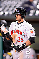 Indianapolis Indians catcher Tony Sanchez #26 on deck during a game against the Louisville Bats on April 19, 2013 at Louisville Slugger Field in Louisville, Kentucky.  Indianapolis defeated Louisville 4-1.  (Mike Janes/Four Seam Images)