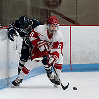BOSTON, MA - FEBRUARY 16: Deziray De Sousa #8 of Boston University controls the puck during a game between University of New Hampshire and Boston University at Walter Brown Arena on February 16, 2020 in Boston, Massachusetts.