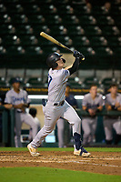 Tampa Tarpons first baseman Tyler Hardman (17) hits a triple during Game One of the Low-A Southeast Championship Series against the Bradenton Marauders on September 21, 2021 at LECOM Park in Bradenton, Florida.  (Mike Janes/Four Seam Images)