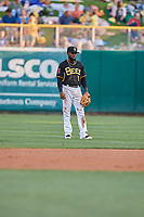 Luis Rengifo (5) of the Salt Lake Bees on defense against the El Paso Chihuahuas at Smith's Ballpark on August 14, 2018 in Salt Lake City, Utah. El Paso defeated Salt Lake 6-3. (Stephen Smith/Four Seam Images)