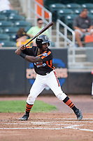 Kirvin Moesquit (9) of the Aberdeen IronBirds at bat against the Hudson Valley Renegades at Leidos Field at Ripken Stadium on July 27, 2017 in Aberdeen, Maryland.  The Renegades defeated the IronBirds 2-0 in game one of a double-header.  (Brian Westerholt/Four Seam Images)