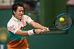 March 10, 2019: Kei Nishikori (JPN) defeated Adrian Mannarino (FRA) 6-4, 4-6, 7-6 at the BNP Paribas Open at the Indian Wells Tennis Garden in Indian Wells, California. ©Mal Taam/TennisClix/CSM