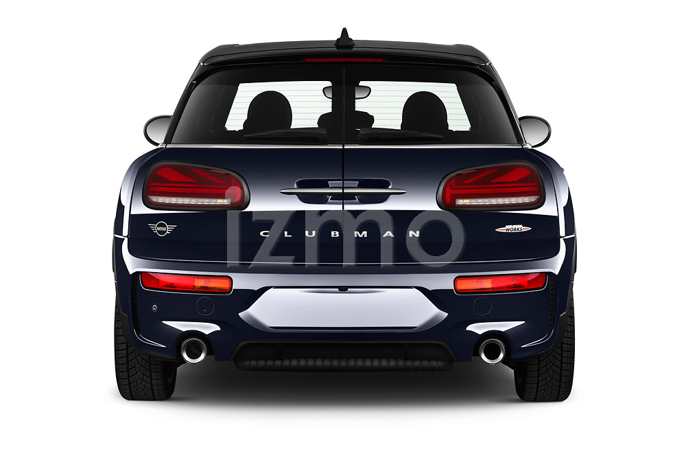Straight rear view of 2020 MINI Clubman 5 Door Wagon Rear View  stock images