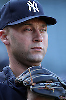 New York Yankees shortstop Derek Jeter #2 before a game against the Los Angeles Angels at Angel Stadium on September 10, 2011 in Anaheim,California. Los Angeles defeated New York 6-0.(Larry Goren/Four Seam Images)