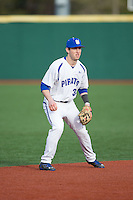 Seton Hall Pirates shortstop D.J. Ruhlman (34) on defense against the Cornell Big Red at The Ripken Experience on February 27, 2015 in Myrtle Beach, South Carolina.  The Pirates defeated the Big Red 3-0.  (Brian Westerholt/Four Seam Images)