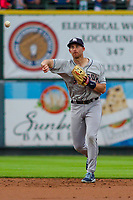 Colorado Springs Sky Sox second baseman Brad Miller (31) throws to first base during a Pacific Coast League game against the Iowa Cubs on June 22, 2018 at Principal Park in Des Moines, Iowa. Iowa defeated Colorado Springs 4-3. (Brad Krause/Four Seam Images)