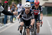 Victor Campenaerts (BEL/Qhubeka NextHash) being handed a bidon in the breakaway group<br /> <br /> 115th Il Lombardia 2021 (1.UWT)<br /> One day race from Como to Bergamo (ITA/239km)<br /> <br /> ©kramon