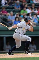 Left fielder John Murphy (3) of the Charleston RiverDogs in a game against the Greenville Drive on Wednesday, June 11, 2014, at Fluor Field at the West End in Greenville, South Carolina. Greenville won, 6-3. (Tom Priddy/Four Seam Images)