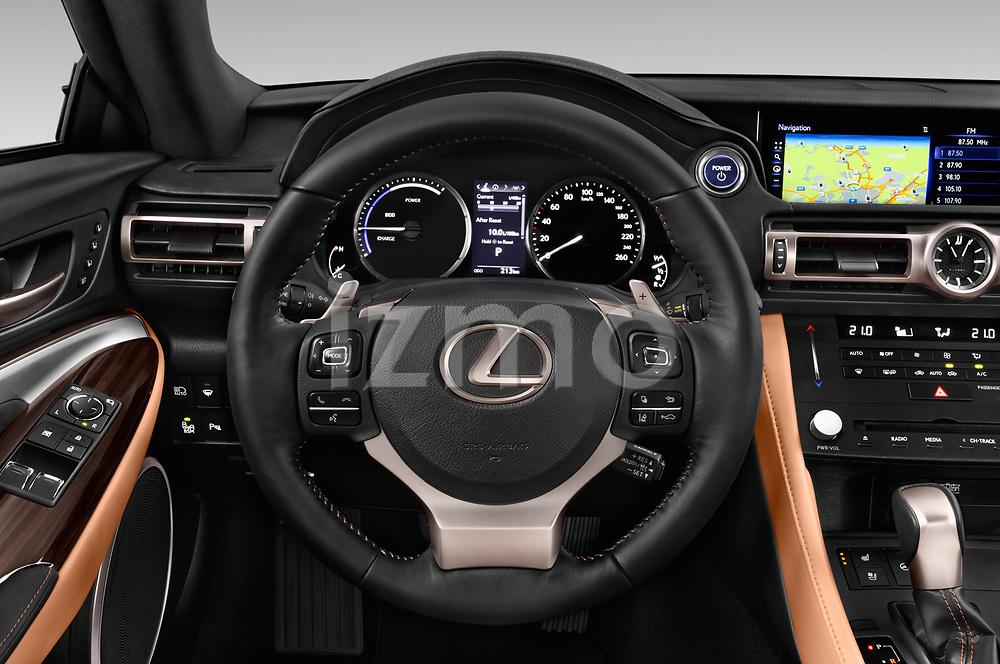 Car pictures of steering wheel view of a 2019 Lexus RC 300h-Privilege-Line 2 Door Coupe Steering Wheel