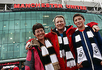 Swansea City fans ahead of the Barclays Premier League match between Manchester United and Swansea City played at Old Trafford, Manchester on January 2nd 2016