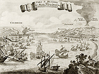 An old illustration of Strait of Messina, between Italian peninsula and Sicily. The original engraving was created by Gabriel Bodenehr, a german map maker who was born in 1673 and died in 1765