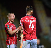 Lincoln City's Lewis Montsma, right, celebrates scoring his side's third goal with team-mate Anthony Scully<br /> <br /> Photographer Chris Vaughan/CameraSport<br /> <br /> Carabao Cup Second Round Northern Section - Bradford City v Lincoln City - Tuesday 15th September 2020 - Valley Parade - Bradford<br />  <br /> World Copyright © 2020 CameraSport. All rights reserved. 43 Linden Ave. Countesthorpe. Leicester. England. LE8 5PG - Tel: +44 (0) 116 277 4147 - admin@camerasport.com - www.camerasport.com