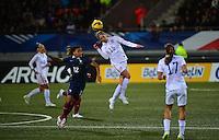 Lorient, France. - Sunday, February 8, 2015:  Morgan Brian (15) of the USWNT heads the ball. France defeated the USWNT 2-0 during an international friendly at the Stade du Moustoir.