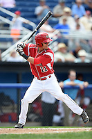 Batavia Muckdogs shortstop Aaron Blanton (11) at bat during a game against the Mahoning Valley Scrappers on August 24, 2014 at Dwyer Stadium in Batavia, New York.  Mahoning Valley defeated Batavia 7-6.  (Mike Janes/Four Seam Images)