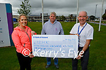 Members of the Listowel Youth Group who took part in a sponsored walk / Cycle from St Mary's Parish Church Listowel to University Hospital Kerry and presented a cheque for €3,368:00 on Friday to Ferghal Grimes (Manager UHK) for the for the staff as a thank you for their selfless and heroic work through Covid 19, pictured at the finish line on Friday at UHK. L to r: Emer O'Neill ,Brian Godfrey and Ferghal Grimes,