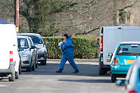 Tuesday 18 February 2014<br /> Pictured: Views of the Police cordon at New Road Pontyberem<br /> Re:A dog has been seized by police following the sudden death of a baby in Carmarthenshire.Officers say they had a call alerting them to the incident at a property in New Road, Pontyberem, shortly before 08:30 GMT on Tuesday.The baby was airlifted to the University Hospital of Wales, Cardiff, the Welsh Ambulance Service said.The dog involved in the incident was an Alaskan Malamute, similar to a Husky, which is not a banned breed.