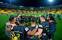 The Chiefs huddle after the Super Rugby Aotearoa match between the Hurricanes and Chiefs at Sky Stadium in Wellington, New Zealand on Saturday, 8 August 2020. Photo: Dave Lintott / lintottphoto.co.nz