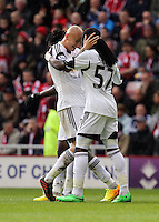 Pictured: Marvin Emnes of Swansea (R) celebrating his goal with team mate  Jonjo Shelvey (L), making the score 2-0 to Swansea. Sunday 11 May 2014<br /> Re: Barclay's Premier League, Sunderland v Swansea City FC at the Stadium of Light, Sunderland, UK.