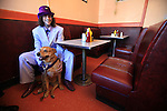 Robert Vincent Doeff Jr. and his dog Ginger At a café in the tenderloin district of San Francisco, California.....