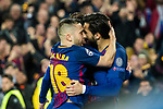 Lionel Andres Messi of FC Barcelona celebrates with teammates during the UEFA Champions League 2017-18 Round of 16 (2nd leg) match between FC Barcelona and Chelsea FC at Camp Nou on 14 March 2018 in Barcelona, Spain. Photo by Vicens Gimenez / Power Sport Images