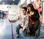 The Canadian Paralympic Committee cross country tour stops to meet students at St. Vincent de Paul school in Calgary, Alberta on Janyary 19, 2016.  Lots of selfie opportunities with Chantal Petitclerc.