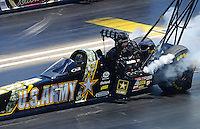 Jul, 21, 2012; Morrison, CO, USA: NHRA top fuel dragster driver Tony Schumacher during qualifying for the Mile High Nationals at Bandimere Speedway. Mandatory Credit: Mark J. Rebilas-US PRESSWIRE