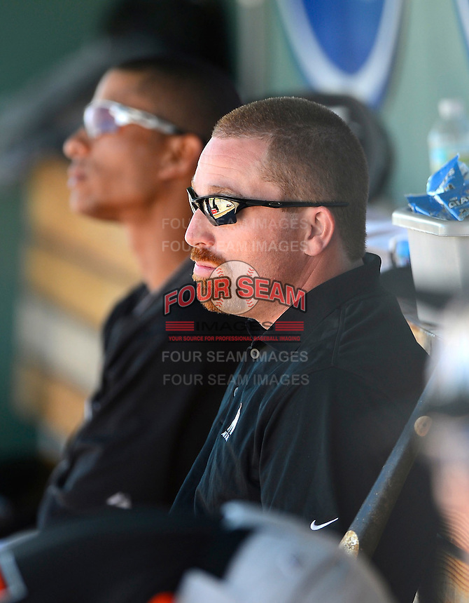 Miami Marlins trainer Patrick Amorelli during a Spring Training game against the Boston Red Sox at JetBlue Park on March 27, 2013 in Fort Myers, Florida.  Miami defeated Boston 5-1.  (Mike Janes/Four Seam Images)