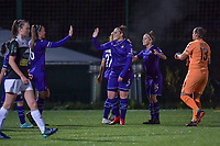 Anderlecht players celebrate their team's goal during a female soccer game between RSC Anderlecht Dames and Eendracht Aalst Ladies  on the fourth matchday of the 2020 - 2021 season of Belgian Womens Super League , Tuesday 13 th of October 2020  in ANDERLECHT , Belgium . PHOTO SPORTPIX.BE | SPP | STIJN AUDOOREN