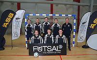 Tournament officials pose for a group photo before the Mainland v Capital 19s final of the ASB Futsal National Junior Festival and Youth Championships at the ASB Sports Centre, Kilbirnie, Wellington, New Zealand on Monday, 9 July 2012. Photo: Dave Lintott / lintottphoto.co.nz