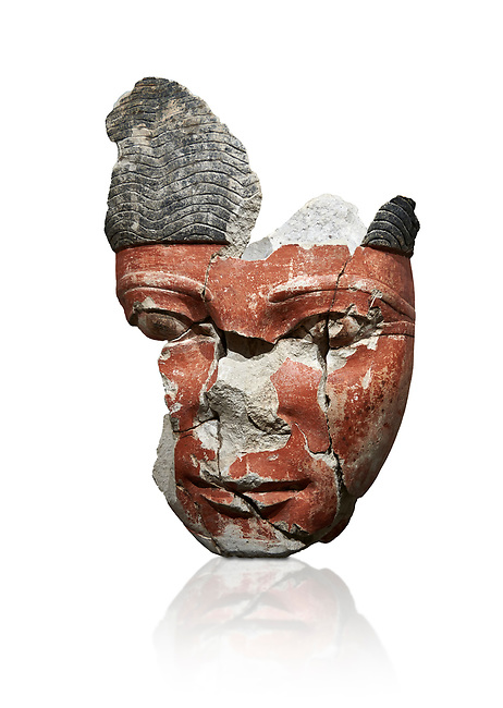 Ancient Egyptian statue head of a monarch, limestone, Middle Kingdom, mid 12th Dynasty, (1900-1850 BC), Qqw el-Kebir, tomb of Ibu. Egyptian Museum, Cat 4410 Turin.white background.