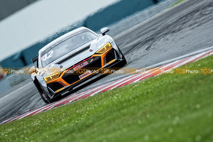 Richard Williams & Sennan Fielding, Audi R8 LMS GT4, Stellar Motorsport exit Goddards into Wheatcrodt Straight during the British GT & F3 Championship on 10th July 2021