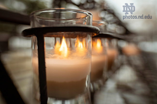 February 12, 2019; Burning candles at the Grotto. (Photo by Barbara Johnston/University of Notre Dame)